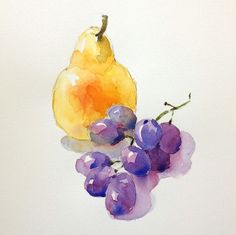 Watercolor Study: Learn How To Paint Appealing Fruits And Vegetables Apelando frutas e legumes por Watercolor Fruit, Fruit Painting, Easy Watercolor, Watercolor Cards, Watercolour Painting, Watercolor Flowers, Painting & Drawing, Watercolors, Watercolor Projects