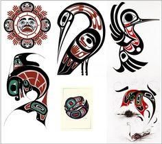 Haida ( Northwest Coast ) tribal forms. Sun. Bird. Fish