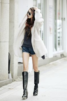 ♥ GG's tiny times ♥Itsmestyle to look extra k-fashionista ♥ white fluffy cardi with shorts and knee high boots# Korean fashion style