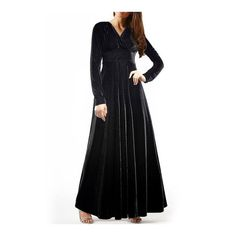 SheIn(sheinside) Black V Neck Long Sleeve Maxi Dress ($30) ❤ liked on Polyvore featuring dresses, gowns, black, longsleeve dress, maxi dress, v neck dress, kohl dresses and v neckline dress