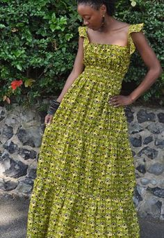 African print ruffle sleeve tiered maxi dress
