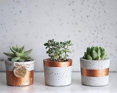 SML-Set of 3 pots, painted Cement Art, Concrete Pots, Concrete Crafts, Concrete Planters, Diy Planters, Painted Flower Pots, Painted Pots, Beton Diy, Succulent Pots
