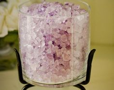 Lavender Heaven Scented Sparkle Stones In Large London Bowl with Iron Stand