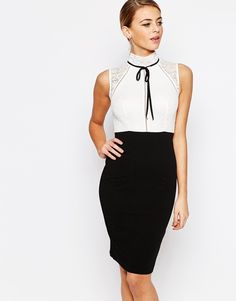 791b3b71818d TFNC High Neck Pencil Dress with Lace and Bow Detail at asos.com