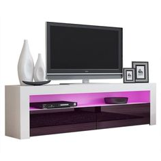 Milano Classic Modern 16 color 63-inch TV Stand | Overstock.com Shopping - The Best Deals on Entertainment Centers - Gray/Wavy Black Tv Stand For Sale, 65 Tv Stand, Black Tv Stand, Living Room Storage, Storage Spaces, Contemporary Entertainment Center, White Tv Unit, 70 Inch Tvs, Entertainment Room