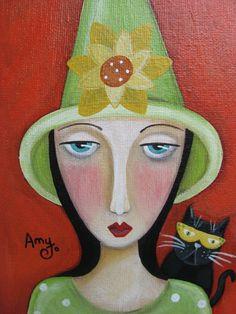 Hazel & Henry. Folk art painting by Amy Jo Hill