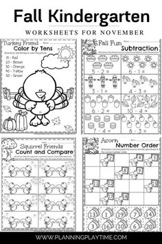 Fun Kindergarten Math Activities, Literacy, Color Activities, Activities For Kids, Opinion Writing Prompts, Thanksgiving Writing, Ordering Numbers, Rhyming Words, Informational Writing