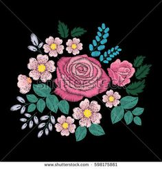 Embroidery ethnic flowers and roses on black background. Satin stitch imitation, vector.