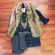 This outfit is a #boho girl's dream! Highlands Tunic - 5th Ave Darling Faux Fur Vest - Boho Dream Necklace - Time to Trot boots - All at southernswankboutique.com #instafashion #instastyle #instasale #ootd #boho #wiw #bohochic #fur #fauxfur #fall2014 #fallfashion