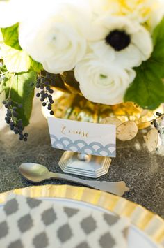 art deco touches on this table setting