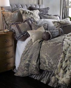 Platinum color scheme and faux fur! Penthouse+Suite+Bedding+by+Dian+Austin+at+Horchow.