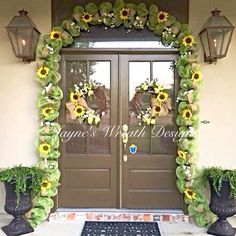 Sunflower Garland with matching Summer Sunflower Grapevine Wreaths with Tulips, Lavender and Burlap Bow   By Jayne's Wreath Designs on fb and Instagram