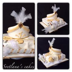 Sunnet white and gold cake with draped cape, hat and stick for Dilan! Religious Cakes, Gold Cake, Fondant, Wedding Cakes, Christmas Ornaments, Holiday Decor, Party, Kids, Wedding Gown Cakes