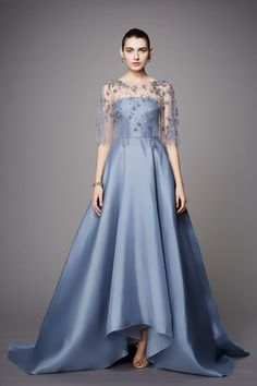 Marchesa Pre Fall 2017: Lovely blue high/low gown! I like the intricate detailing.