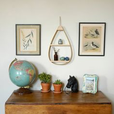 MidCentury Bentwood Hanging Shelf by TheWavertreeCo on Etsy, $82.00