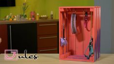 :) What you need: - A wine crate or another wooden box. from IKEA) - Spray color - hooks I hope you like my video. Ikea, Diy Wardrobe, Diy Dog, Wooden Boxes, Crates, Locker Storage, Make It Yourself, Easy, Animals