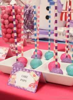 Doc McStuffins Birthday Party cake pops! See more party ideas at CatchMyParty.com!