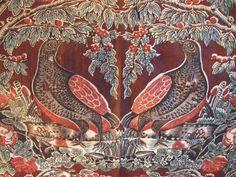 Antique  c1830's Bird Chintz Fabric Yardage~Block Printed
