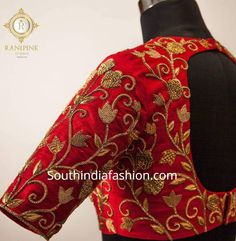 Maggam Work Bridal Blouse Designs For Silk Sarees – South India Fashion Wedding Saree Blouse Designs, Pattu Saree Blouse Designs, Blouse Designs Silk, Designer Blouse Patterns, Sari Blouse, Indian Blouse, Pattern Blouses For Sarees, Zardosi Work Blouse, Dress Designs