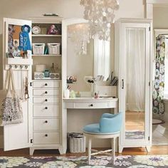 hollywood dressing table in white room