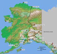 Map of Alaska Railroad, Roads, and Ports