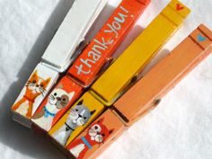 THANK YOU CATS hand painted magnetic clothespin by SugarAndPaint, $10.00
