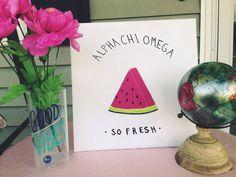 Sorority Watermelon Canvas by southernsororityco on Etsy … Sigma Alpha Omega, Alpha Epsilon Phi, Alpha Delta, Phi Mu, Sigma Kappa, Greek Crafts, Big Little Gifts, Sorority Canvas, Cute Canvas