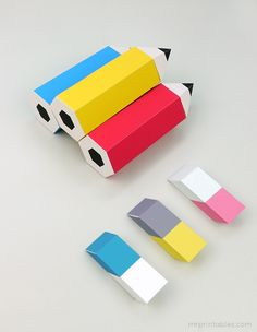 Cajas imprimibles Back to School printable pencil favor boxes with erasers