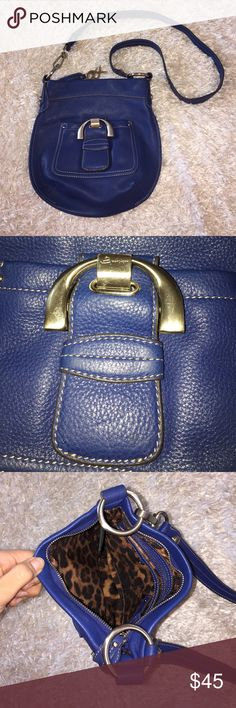"""B Makowsky Side Bag Bright blue. 100% leather. No flaws. Size: 10"""" by 11"""". Zippers closed, one zippered pocket inside, and two punches inside. Front is a magnetic closet. Feel free to ask any questions! No trades sorry, & offers thru offer button only! If it is listed as for sale, IT IS AVAILABLE! 😊 b. makowsky Bags Crossbody Bags"""
