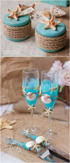 BEACH wedding champagne flutes & cake server and knife, guest book, ring boxes, pen and holder, rope, starfish, seashells, sea, 10 pcs