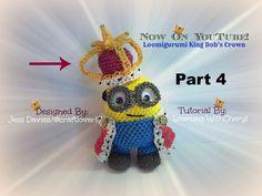 Rainbow Loom Crown King Bob Minion - Part 4 of 4 - Loomigurumi - Looming...
