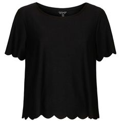 Women's Topshop Scallop Frill Tee (88 PLN) ❤ liked on Polyvore featuring tops, t-shirts, shirts, blusas, sleeve t shirts, ruffle sleeve tee, flutter sleeve shirt, ruffle t shirt and tee-shirt
