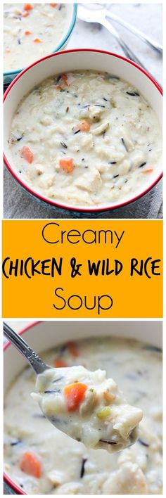 Creamy Chicken and Wild Rice Soup It& definitely soup season in Utah right now! Make this Creamy Chicken and Wild Rice Soup to warm you up on those cold nights. Crockpot Recipes, Soup Recipes, Chicken Recipes, Cooking Recipes, Dinner Recipes, Yummy Recipes, Dinner Ideas, Healthy Recipes, Recipes