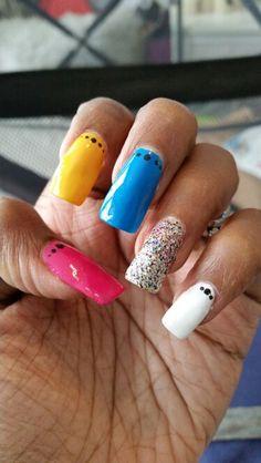 SNC multi coloured nails