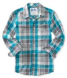 Kids' Long Sleeve Plaid Woven Shirt