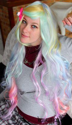 Rainbow wig - multicolor wig - High quality - Kanekalon Synthetic fibers…