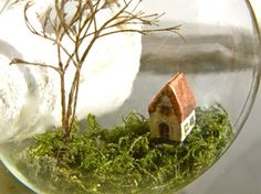 """ickle house"", tiny little house inside a clear glass ornament"