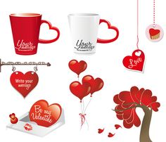 8 Red Valentine's Day Decorator Vector Elements - http://www.welovesolo.com/8-red-valentines-day-decorator-vector-elements/