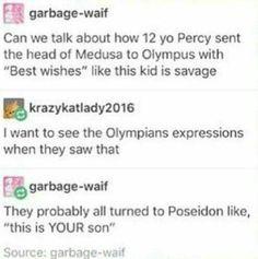 Percy Jackson😂 lol so sassy Percy Jackson Memes, Percy Jackson Books, Percy Jackson Fandom, Poseidon Percy Jackson, Rick Riordan Series, Rick Riordan Books, Solangelo, Percabeth, Rick E