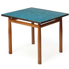 Edward Wormley; Mahogany, Glass Tile and Brass Occasional Table for Dunbar, 1950s