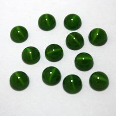 12 Round Glass Green Cat's Eye Cabochons  8 mm by ThisPurplePoppy