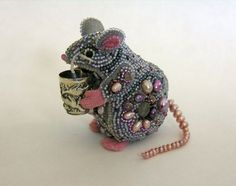 Mouse Holding A Cat Thimble Bead Embroidery