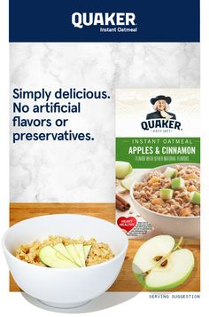 Just three easy steps to a delicious bowl of Instant Quaker Oats. Discover the taste and find your favorite flavor today. This is ab Chilli Recipes, Apple Recipes, Sauce Recipes, Crockpot Recipes, Chicken Recipes, Vegetarian Recipes, Cooking Recipes, Healthy Recipes, Macaroni Recipes