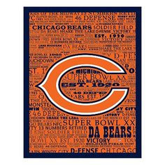 Chicago Bears Typography Canvas Wall Art