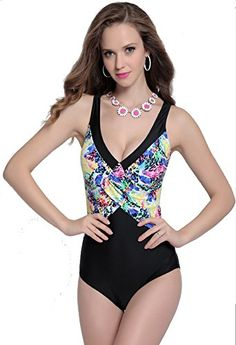 b342faefe2f71 2019 high cut V neck backless printed thong one piece swimsuit push up plus  size swimwear balck bathing suit big cup swimsuit.