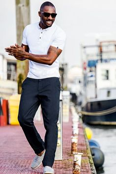 20 navy pants, white moccasins and a white polo shirt - Styleoholic