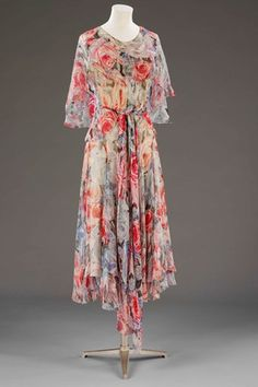 Blue and red floral printed silk afternoon dress -  Madeleine Vionnet, 1931