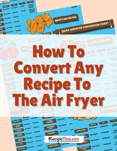 Air Fryer Cooking Times, Cooks Air Fryer, Air Fryer Steak, Air Fryer Oven Recipes, Air Frier Recipes, Air Fryer Dinner Recipes, How To Convert A Recipe, Air Fryer French Fries, Air Fried Food