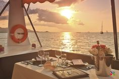 Romantic dinner on the boat