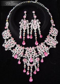 Graceful Pink Alloy with Rhinestone Wedding Jewelry